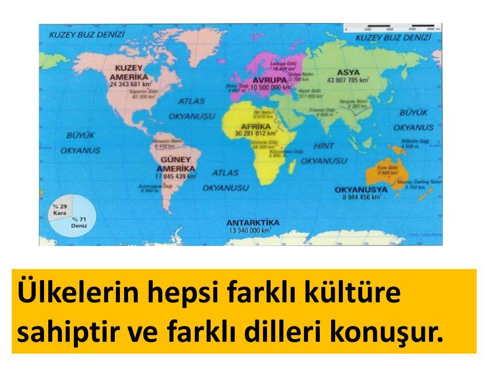 Ülkelerin hepsi farklı kültüre sahiptir ve farklı dilleri konuşur.