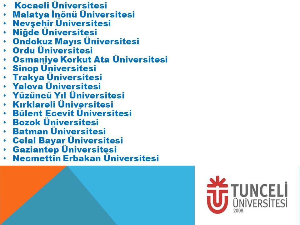 Kocaeli Üniversitesi Malatya İnönü Üniversitesi. Nevşehir Üniversitesi. Niğde Üniversitesi. Ondokuz Mayıs Üniversitesi.