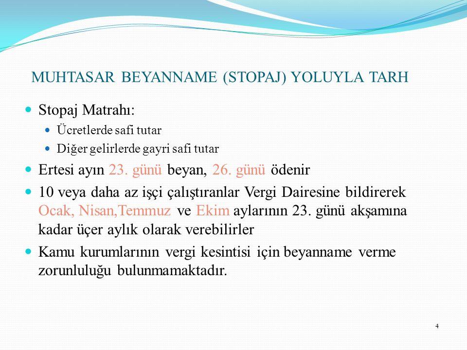 MUHTASAR BEYANNAME (STOPAJ) YOLUYLA TARH