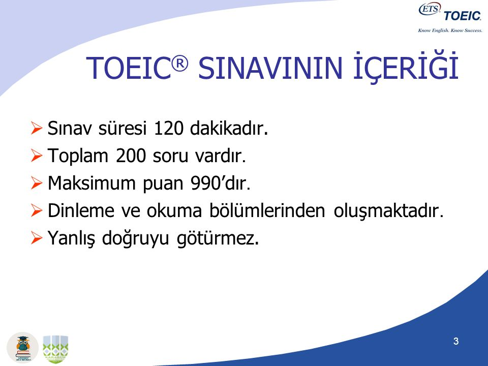 TOEIC® SINAVININ İÇERİĞİ
