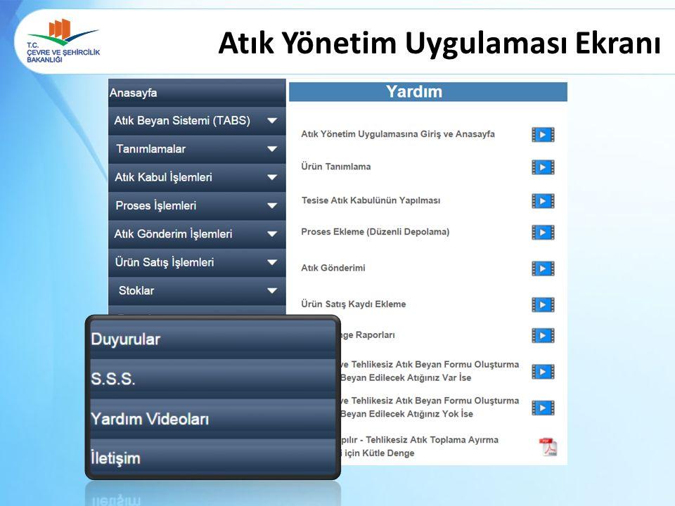 Atık Yönetim Uygulaması Ekranı