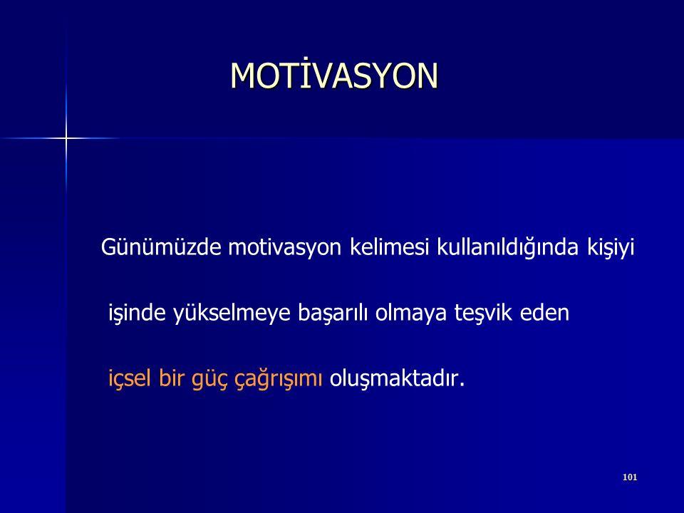MOTİVASYON Günümüzde motivasyon kelimesi kullanıldığında kişiyi