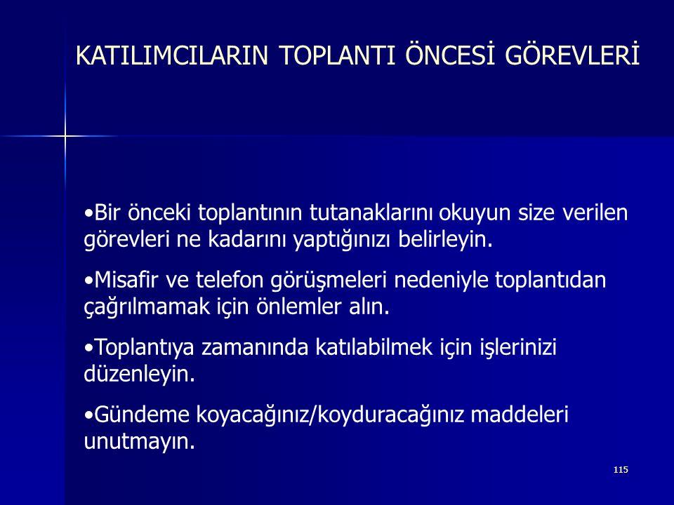 KATILIMCILARIN TOPLANTI ÖNCESİ GÖREVLERİ