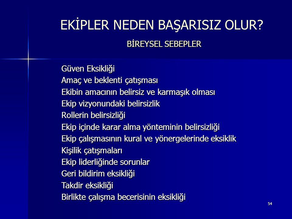 EKİPLER NEDEN BAŞARISIZ OLUR BİREYSEL SEBEPLER