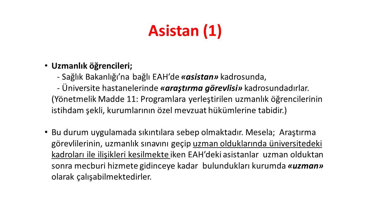 Asistan (1) Uzmanlık öğrencileri;
