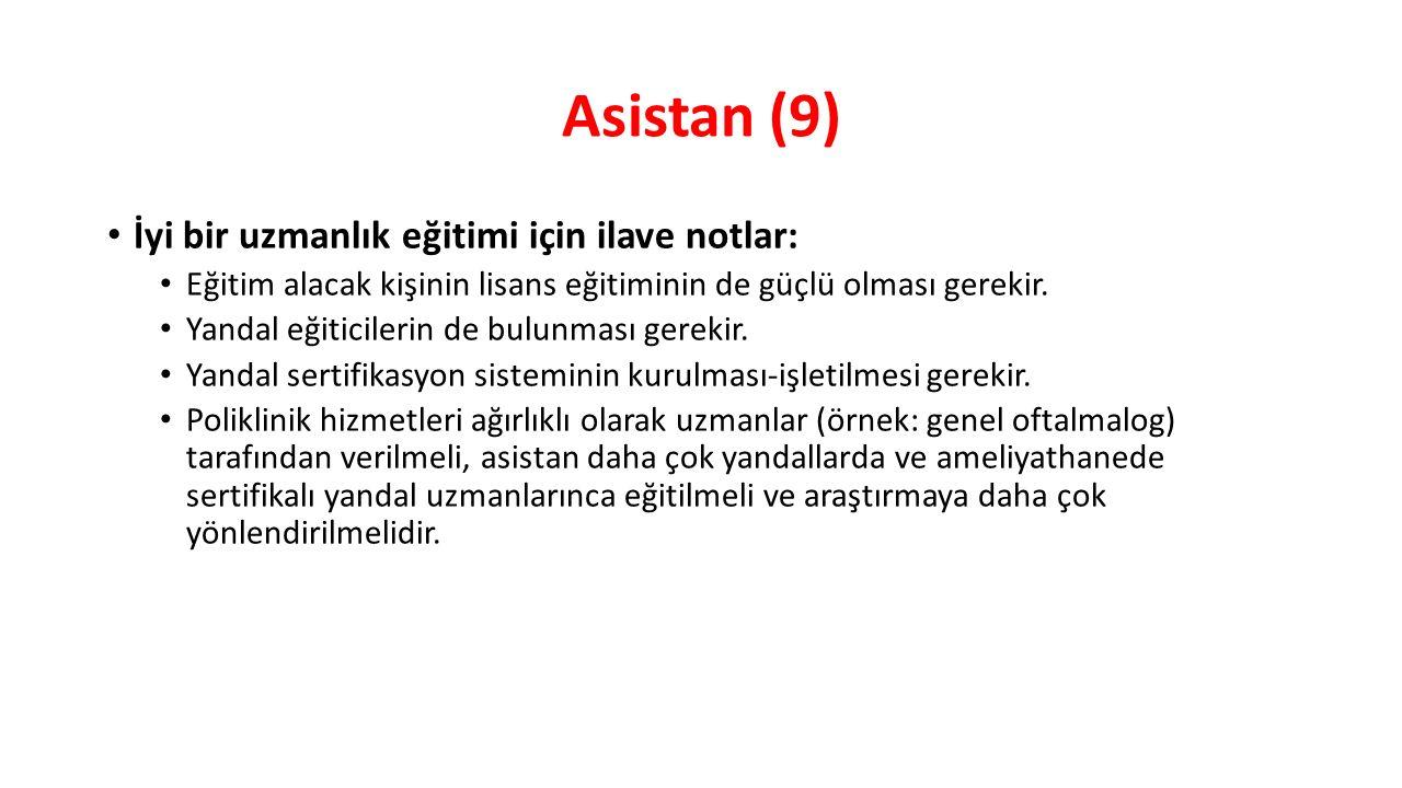 Asistan (9) İyi bir uzmanlık eğitimi için ilave notlar:
