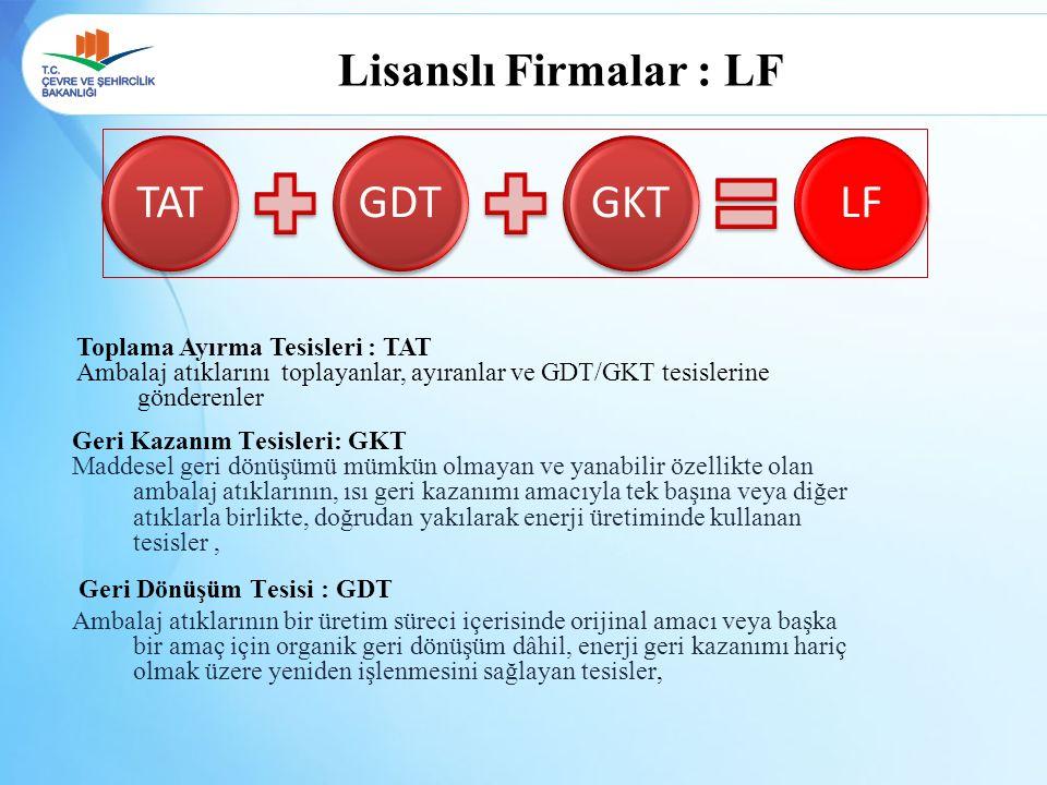 TAT GDT GKT LF Lisanslı Firmalar : LF Toplama Ayırma Tesisleri : TAT