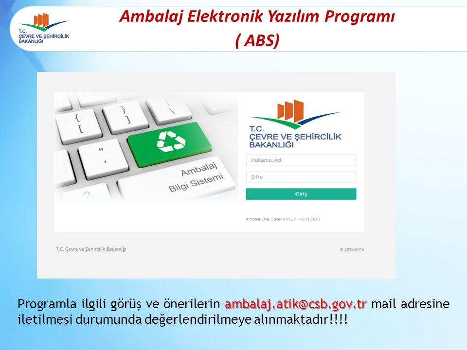 Ambalaj Elektronik Yazılım Programı