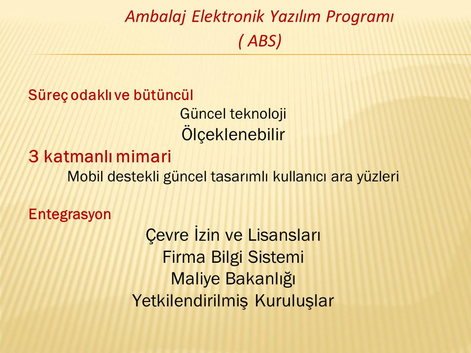 Ambalaj Elektronik Yazılım Programı ( ABS)