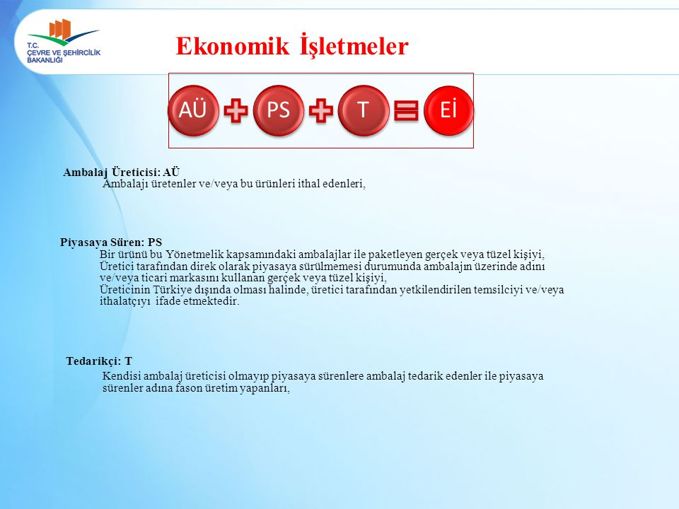Ekonomik İşletmeler AÜ PS T Eİ Ambalaj Üreticisi: AÜ