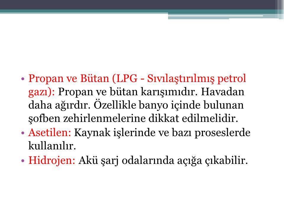 Propan ve Bütan (LPG - Sıvılaştırılmış petrol gazı): Propan ve bütan karışımıdır. Havadan daha ağırdır. Özellikle banyo içinde bulunan şofben zehirlenmelerine dikkat edilmelidir.