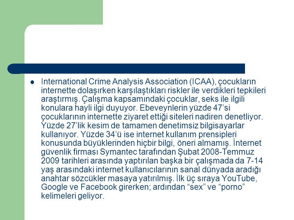 International Crime Analysis Association (ICAA), çocukların internette dolaşırken karşılaştıkları riskler ile verdikleri tepkileri araştırmış.