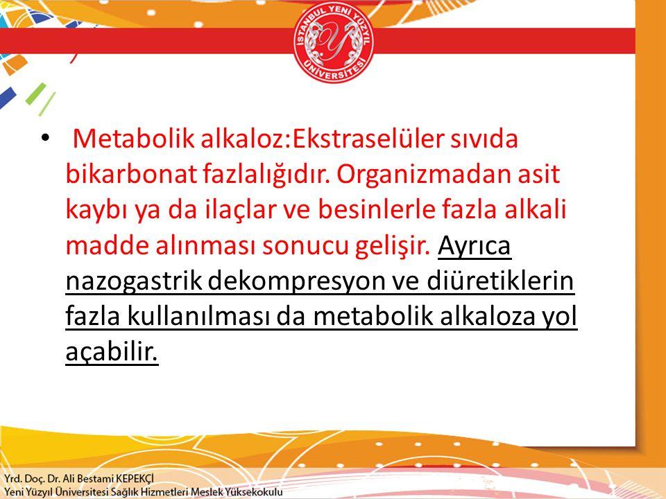 Metabolik alkaloz:Ekstraselüler sıvıda bikarbonat fazlalığıdır