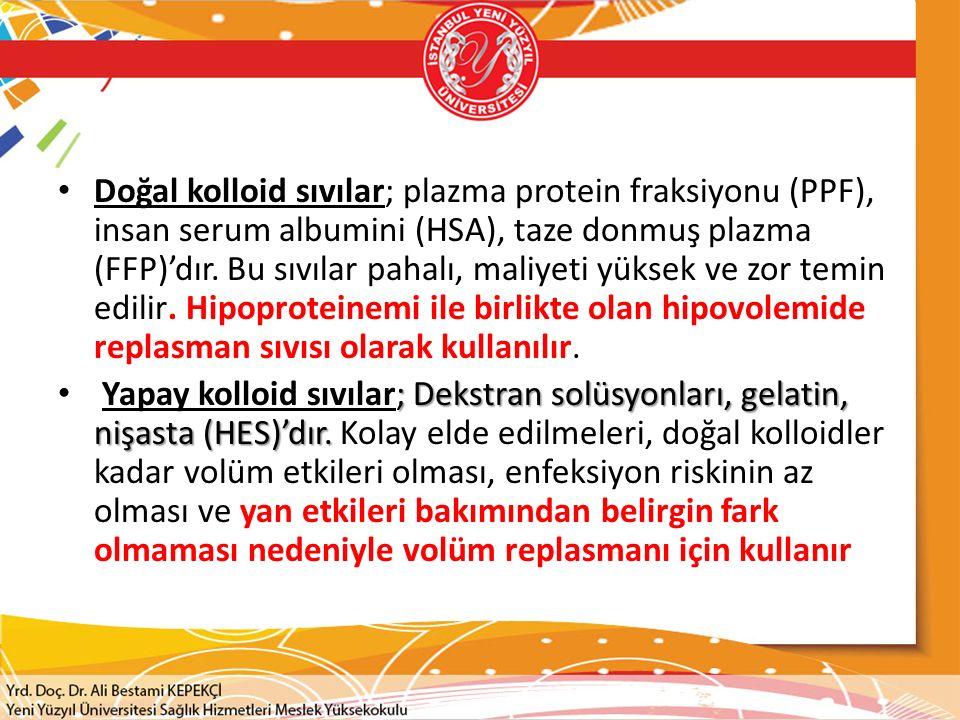 Doğal kolloid sıvılar; plazma protein fraksiyonu (PPF), insan serum albumini (HSA), taze donmuş plazma (FFP)'dır. Bu sıvılar pahalı, maliyeti yüksek ve zor temin edilir. Hipoproteinemi ile birlikte olan hipovolemide replasman sıvısı olarak kullanılır.