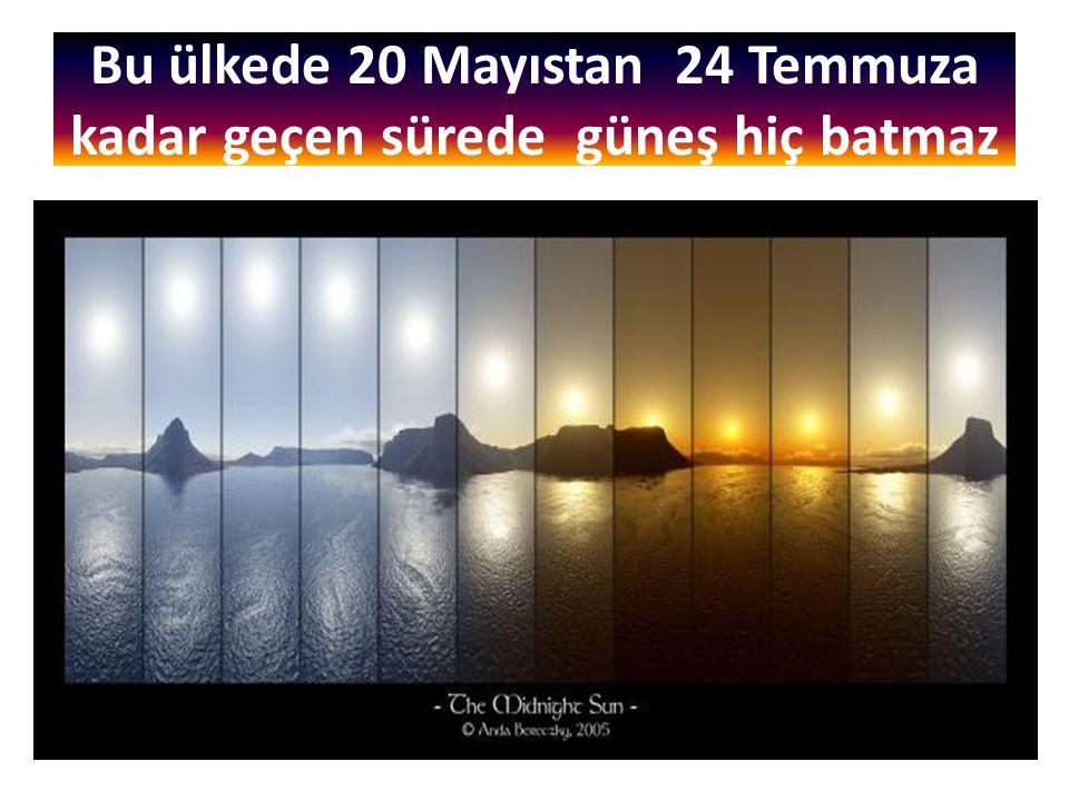 Bu ülkede 20 Mayıstan 24 Temmuza kadar geçen sürede güneş hiç batmaz