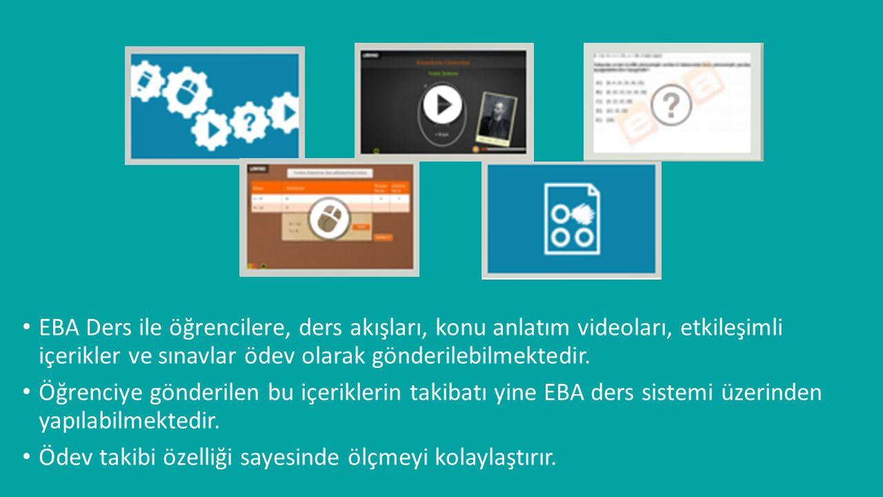 EBA Ders ile öğrencilere, ders akışları, konu anlatım videoları, etkileşimli içerikler ve sınavlar ödev olarak gönderilebilmektedir.