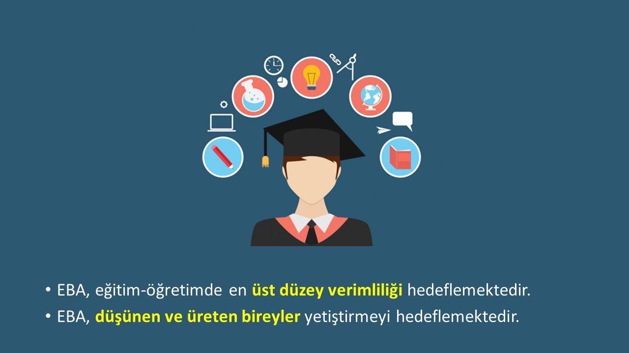 EBA, eğitim-öğretimde en üst düzey verimliliği hedeflemektedir.