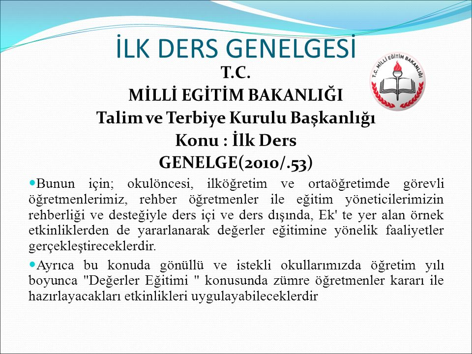 MİLLİ EGİTİM BAKANLIĞI Talim ve Terbiye Kurulu Başkanlığı