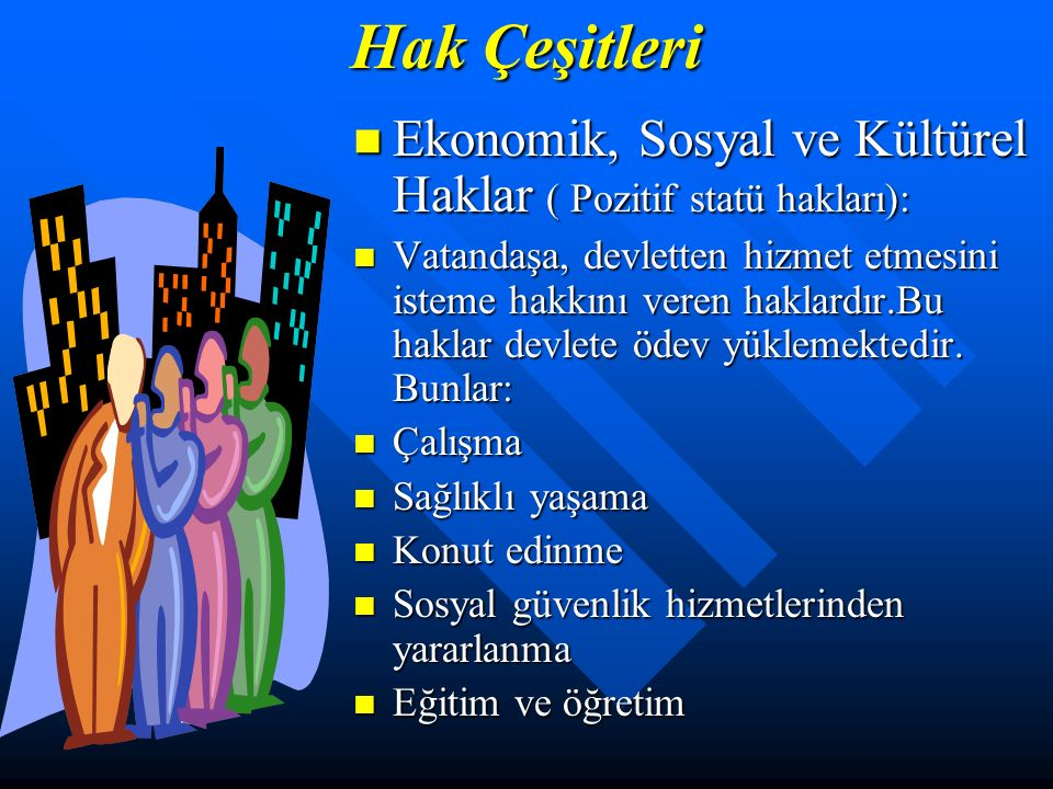 Hak Çeşitleri Ekonomik, Sosyal ve Kültürel Haklar ( Pozitif statü hakları):