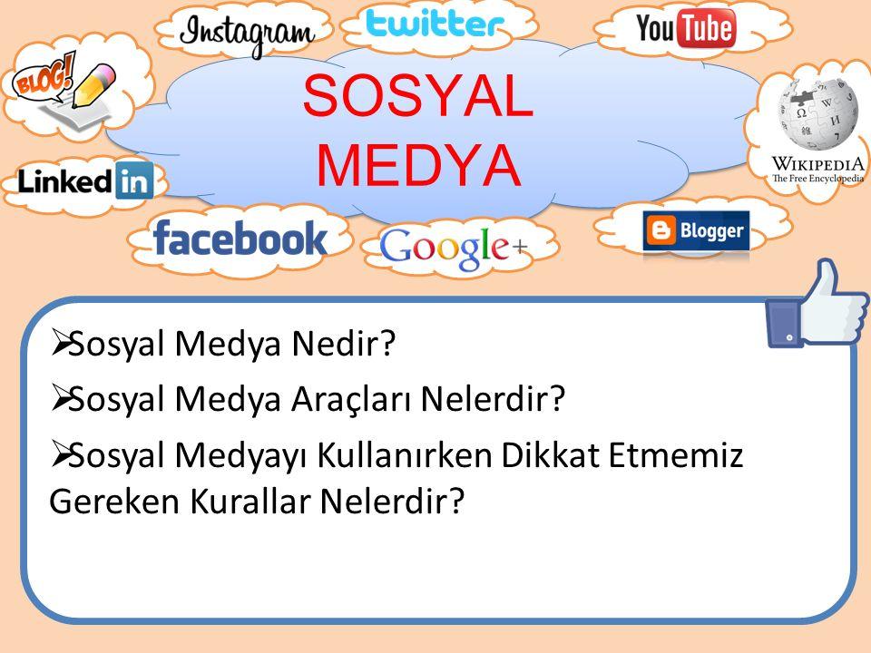 SOSYAL MEDYA Sosyal Medya Nedir Sosyal Medya Araçları Nelerdir
