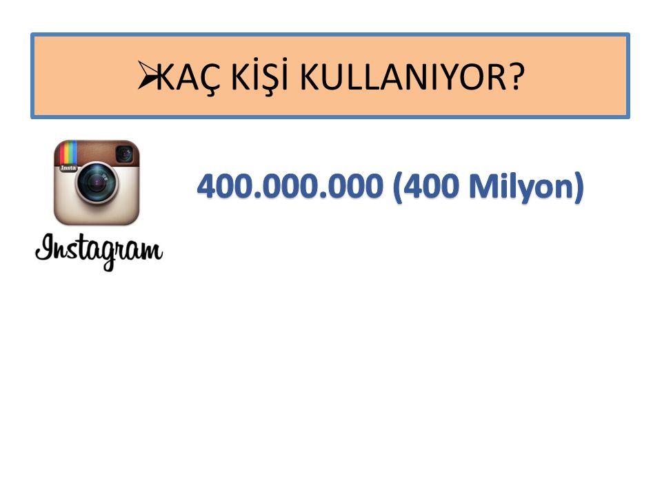 KAÇ KİŞİ KULLANIYOR 400.000.000 (400 Milyon)