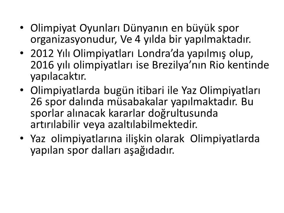 Olimpiyat Oyunları Dünyanın en büyük spor organizasyonudur, Ve 4 yılda bir yapılmaktadır.