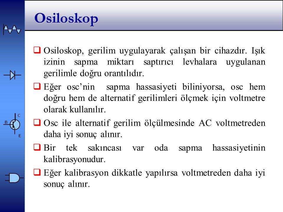 Osiloskop Osiloskop, gerilim uygulayarak çalışan bir cihazdır. Işık izinin sapma miktarı saptırıcı levhalara uygulanan gerilimle doğru orantılıdır.
