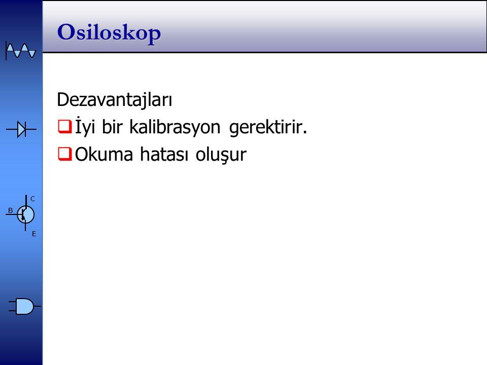 Osiloskop Dezavantajları İyi bir kalibrasyon gerektirir.