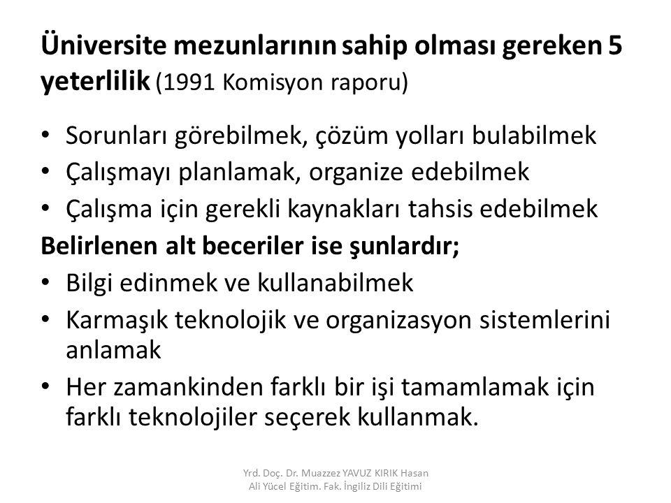 Üniversite mezunlarının sahip olması gereken 5 yeterlilik (1991 Komisyon raporu)
