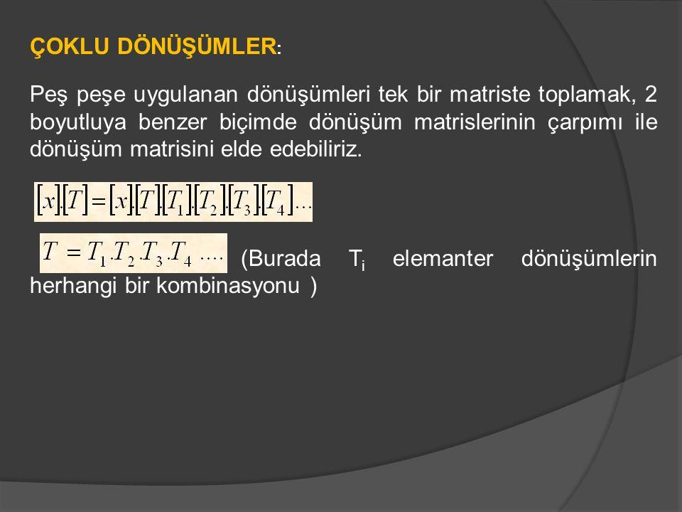 (Burada Ti elemanter dönüşümlerin herhangi bir kombinasyonu )