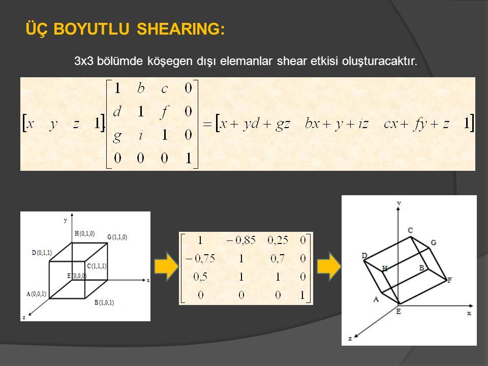 ÜÇ BOYUTLU SHEARING: 3x3 bölümde köşegen dışı elemanlar shear etkisi oluşturacaktır.