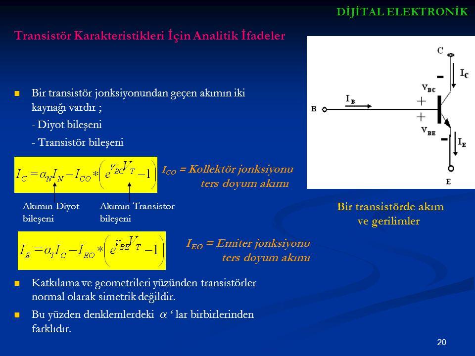 Transistör Karakteristikleri İçin Analitik İfadeler