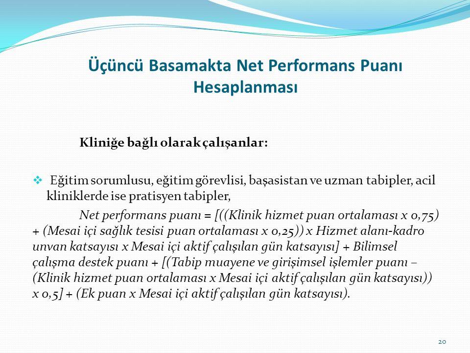 Üçüncü Basamakta Net Performans Puanı Hesaplanması