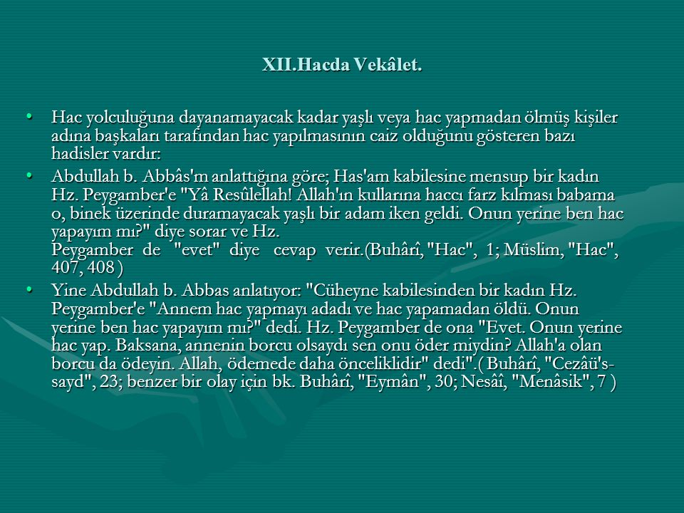 XII.Hacda Vekâlet.