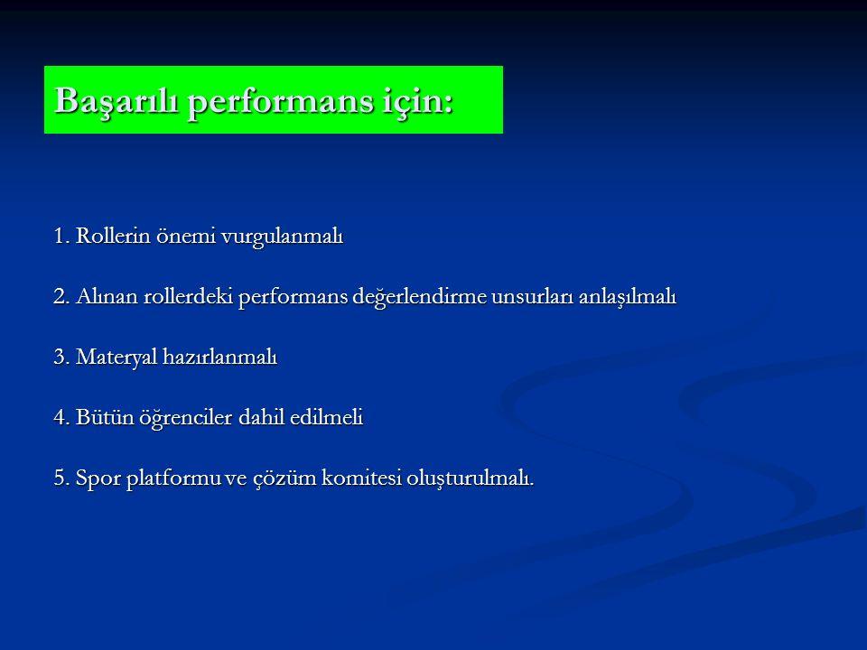 Başarılı performans için: