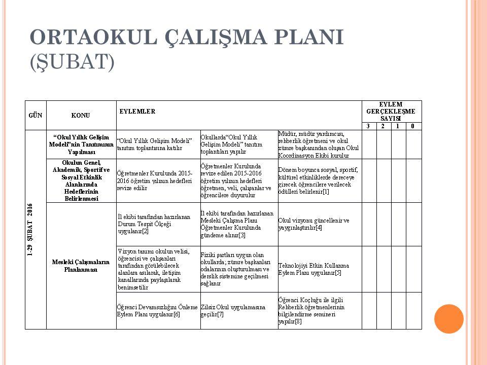 ORTAOKUL ÇALIŞMA PLANI (ŞUBAT)