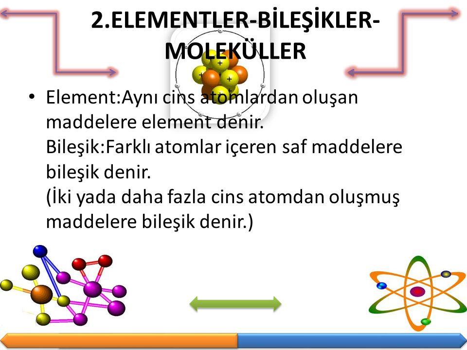 2.ELEMENTLER-BİLEŞİKLER-MOLEKÜLLER