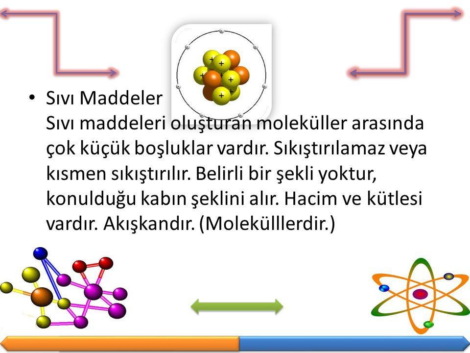 Sıvı Maddeler Sıvı maddeleri oluşturan moleküller arasında çok küçük boşluklar vardır.