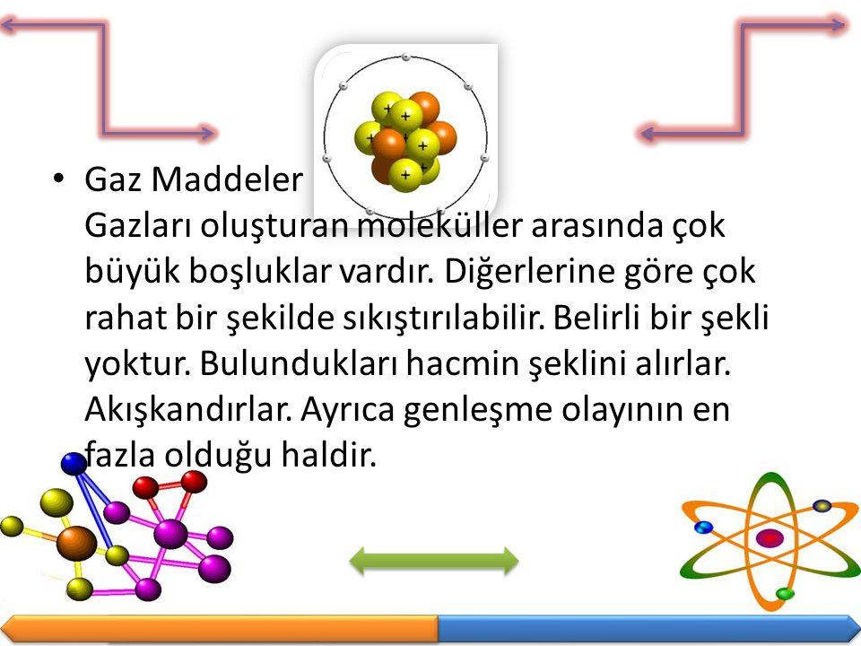 Gaz Maddeler Gazları oluşturan moleküller arasında çok büyük boşluklar vardır.