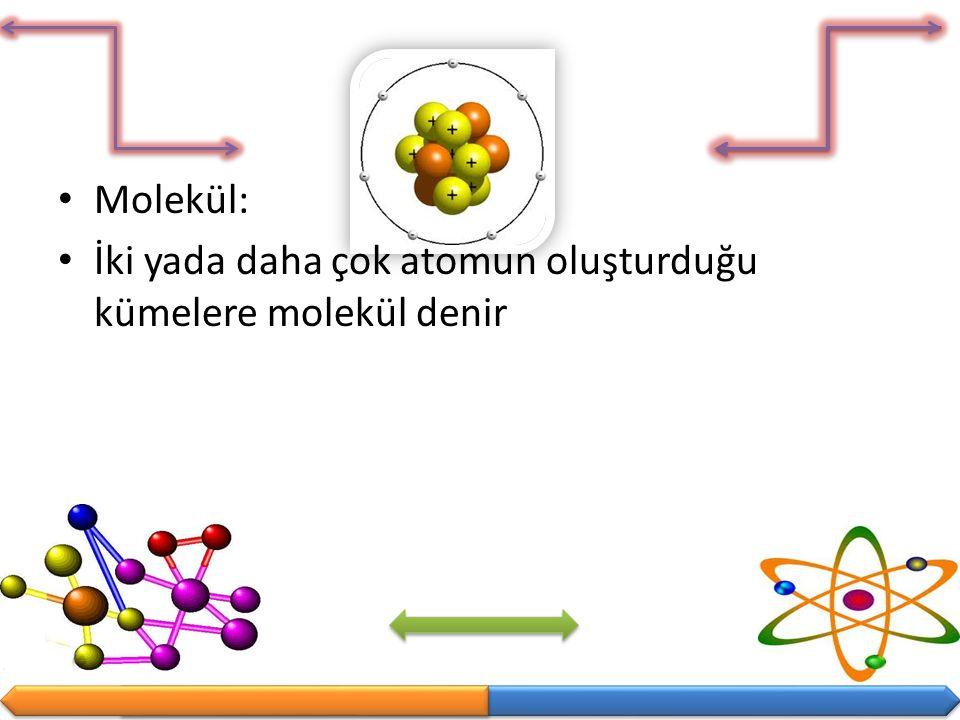 Molekül: İki yada daha çok atomun oluşturduğu kümelere molekül denir