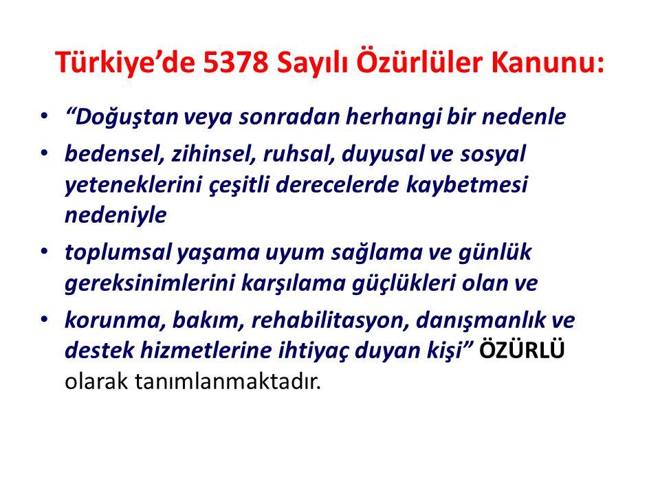 Türkiye'de 5378 Sayılı Özürlüler Kanunu: