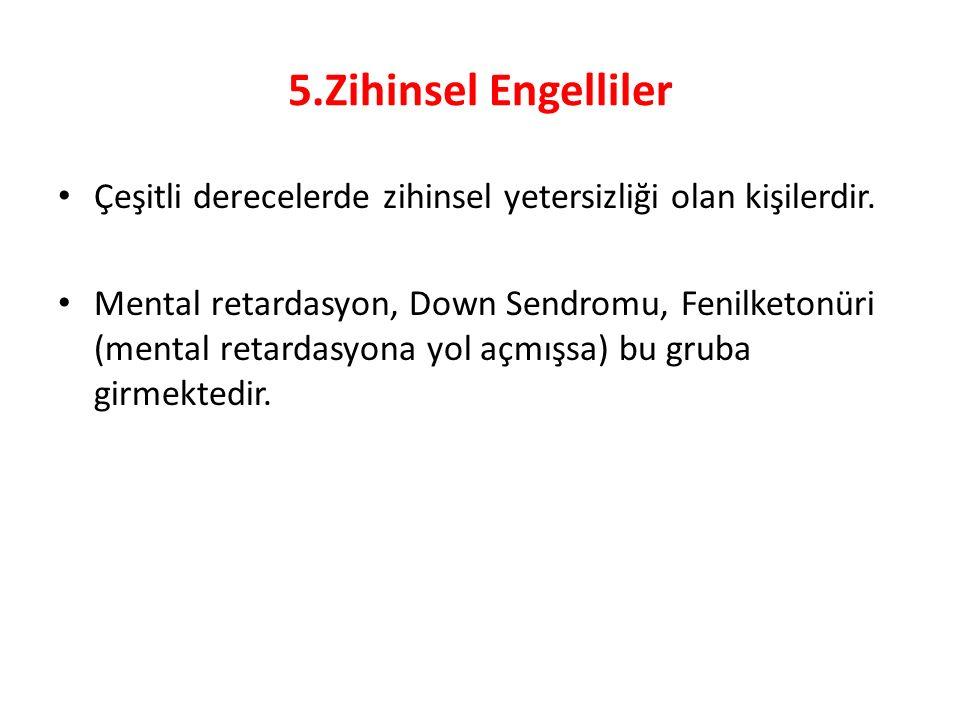 5.Zihinsel Engelliler Çeşitli derecelerde zihinsel yetersizliği olan kişilerdir.