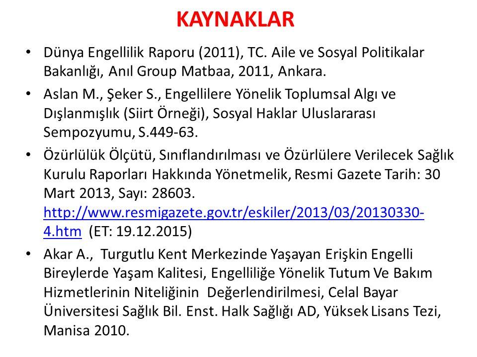 KAYNAKLAR Dünya Engellilik Raporu (2011), TC. Aile ve Sosyal Politikalar Bakanlığı, Anıl Group Matbaa, 2011, Ankara.