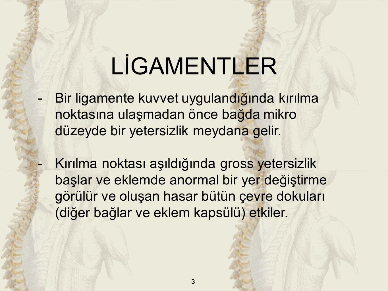 LİGAMENTLER Bir ligamente kuvvet uygulandığında kırılma noktasına ulaşmadan önce bağda mikro düzeyde bir yetersizlik meydana gelir.