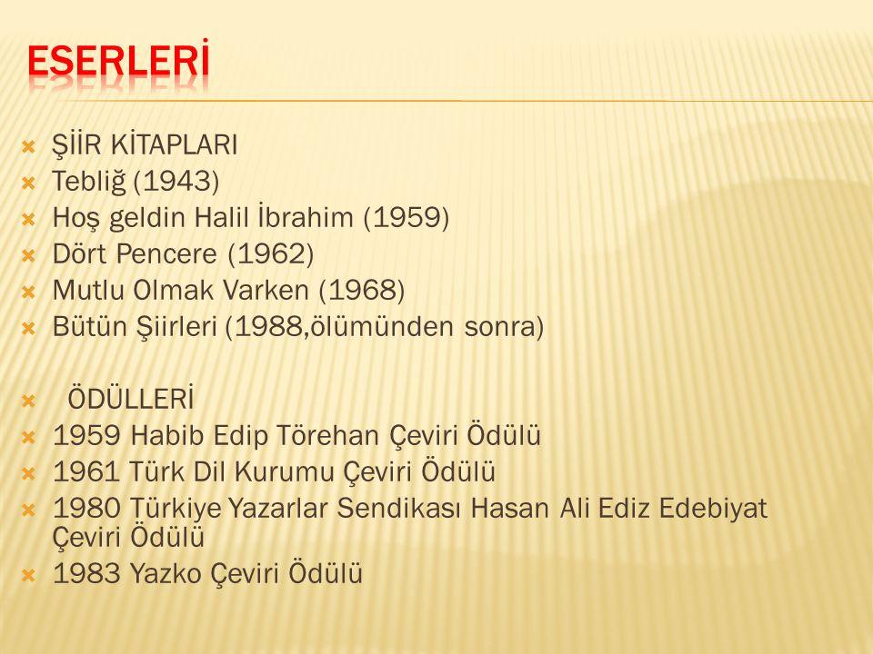 ESERLERİ ŞİİR KİTAPLARI Tebliğ (1943) Hoş geldin Halil İbrahim (1959)