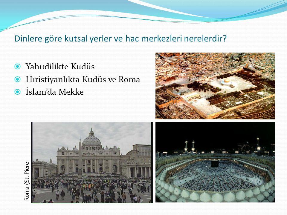 Dinlere göre kutsal yerler ve hac merkezleri nerelerdir