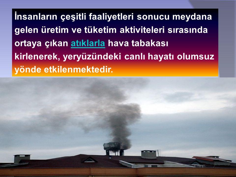 İnsanların çeşitli faaliyetleri sonucu meydana gelen üretim ve tüketim aktiviteleri sırasında ortaya çıkan atıklarla hava tabakası kirlenerek, yeryüzündeki canlı hayatı olumsuz yönde etkilenmektedir.