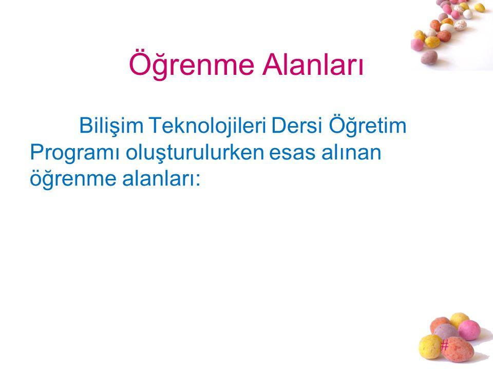 Öğrenme Alanları Bilişim Teknolojileri Dersi Öğretim Programı oluşturulurken esas alınan öğrenme alanları: