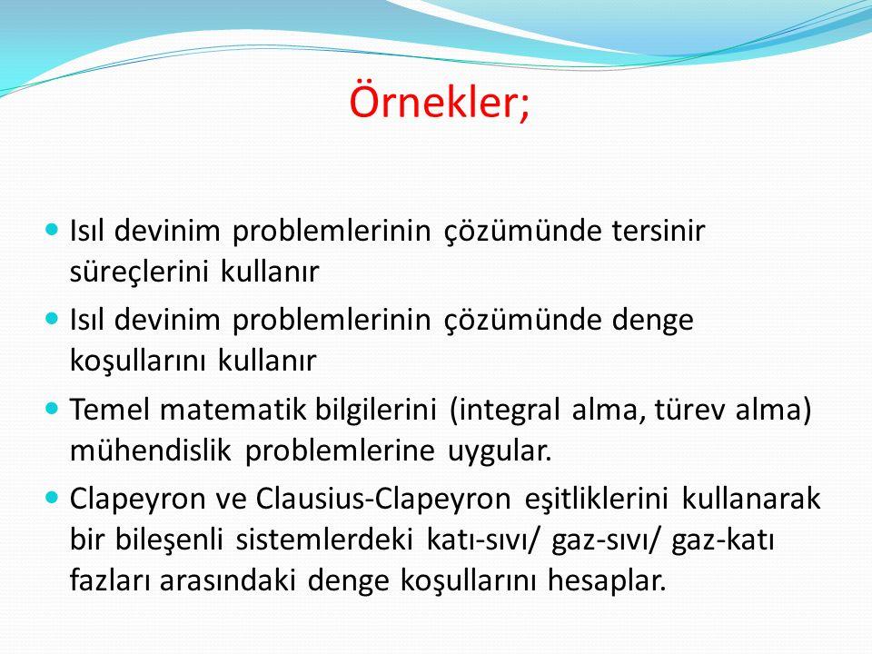 Örnekler; Isıl devinim problemlerinin çözümünde tersinir süreçlerini kullanır. Isıl devinim problemlerinin çözümünde denge koşullarını kullanır.