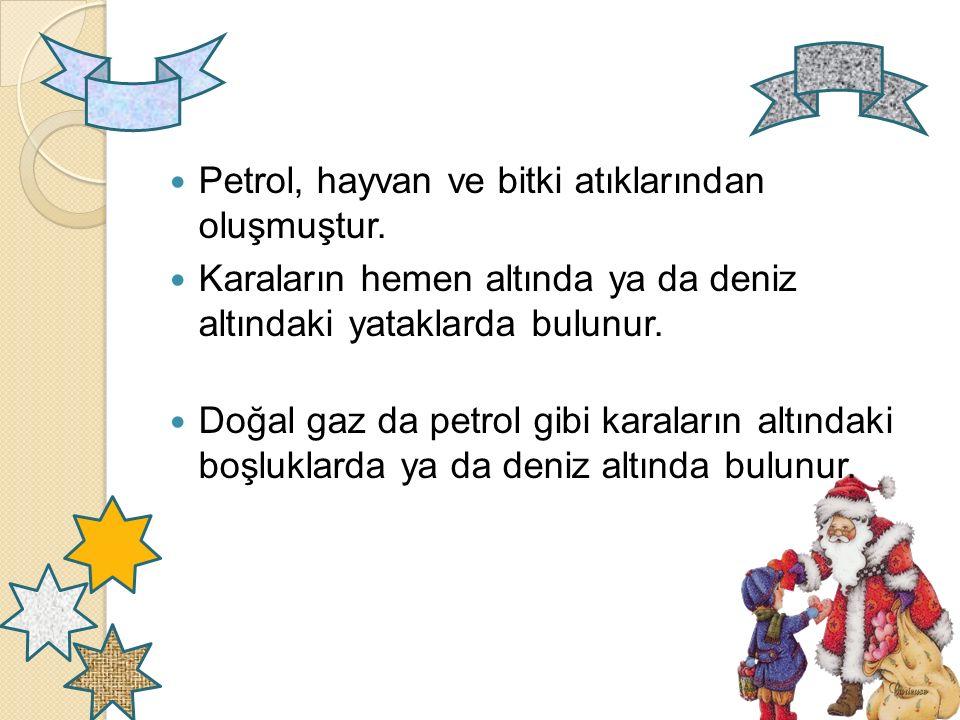 Petrol, hayvan ve bitki atıklarından oluşmuştur.